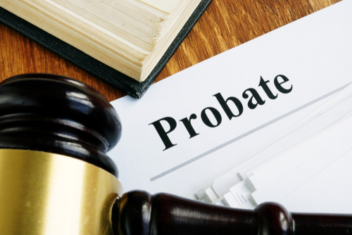"File that says ""probate"", next to a gavel"